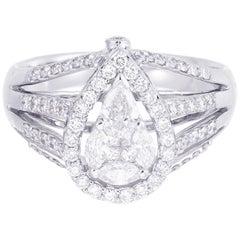 18 Karat White Gold Pear Illusion Diamond Cocktail Ring 1.00 Carat