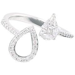 18 Karat White Gold Pear Illusion Diamond Cocktail Ring