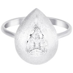 18 Karat White Gold Pear Illusion Diamond Cocktail Ring