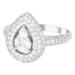 18 Karat White Gold Pear Illusion Diamond Wedding Ring