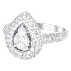 18 Karat White Gold Pear Illusion Diamond Wedding Ring