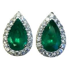18 Karat White Gold Pear Shape Colombian Emerald and Diamond Earrings