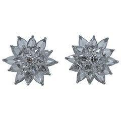 18 Karat White Gold Pear Shape Diamond Flower Ear Studs Earrings 4.66 Carat