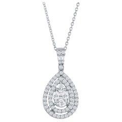 18 Karat White Gold Pear Shaped Diamond Pendant
