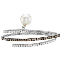 18 Karat White Gold Pearl and Champagne Diamond Bangle Bracelet