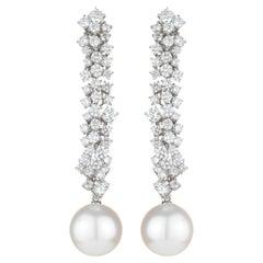 18 Karat White Gold, Pearl and Diamond Crystal Glacier Earrings