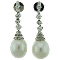 18 Karat White Gold Pearl and Diamond Earrings