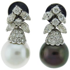 Multi-Colored Pearl Diamond Drop Earrings