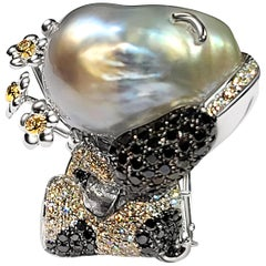 18 Karat White Gold Pearl and Diamond Pendant Brooch