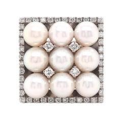 18 Karat White Gold Pearl and Diamond Square Ring