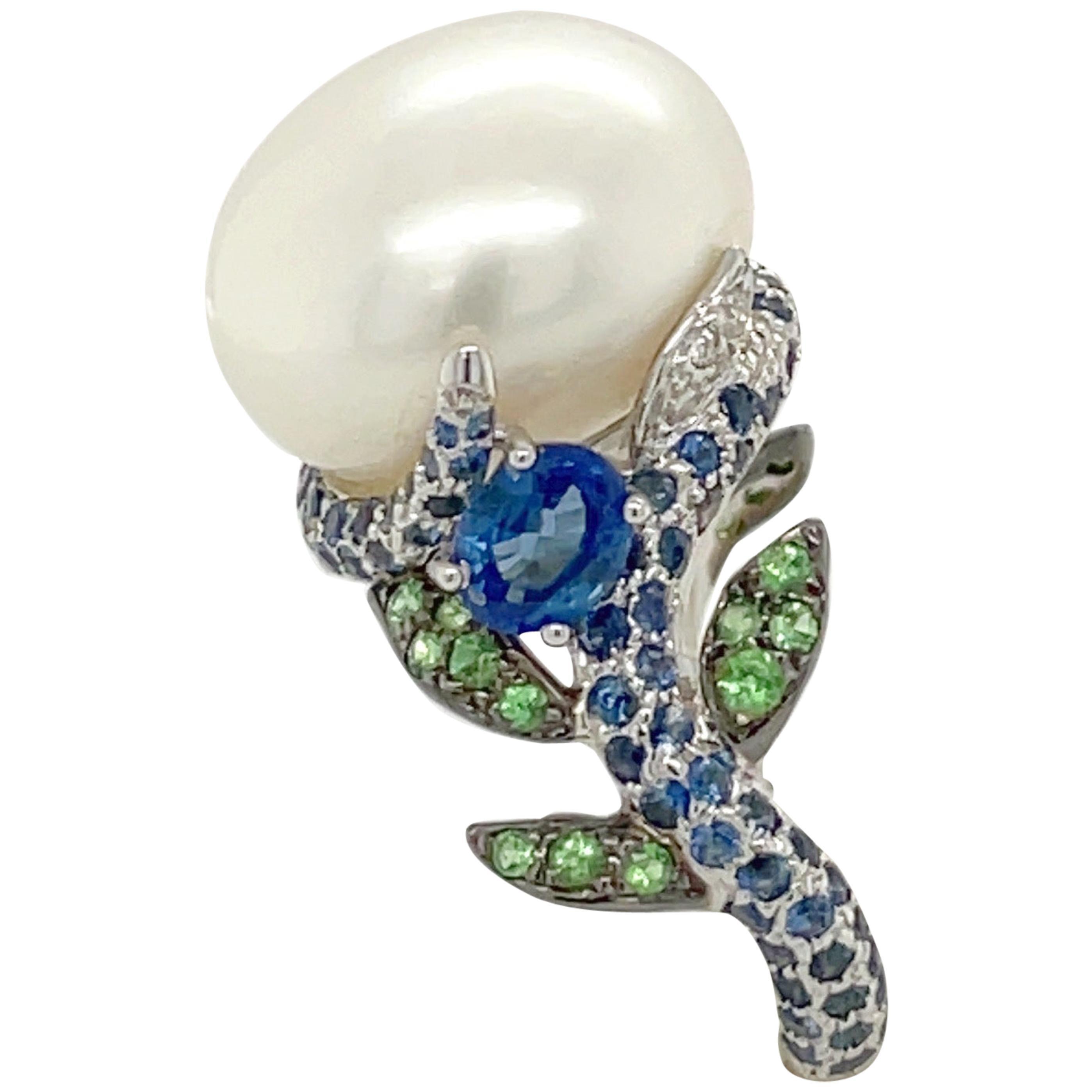 18 Karat White Gold Pearl, Diamond, 2.08 Carat Blue Sapphire and Tsavorite Ring