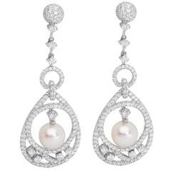 18 Karat White Gold Pearl Diamond Cocktail Earrings