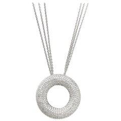 18 Karat White Gold Pendant Necklace with 1.90 Carat Brilliant Cut Diamonds Pave