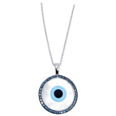 18 Karat White Gold Pendant with Diamonds, Turquoise and Mother of Pearl Inlay