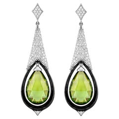 18 Karat White Gold Peridot and Diamond Earrings