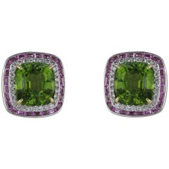 18 Karat White Gold Peridot, Diamond and Sapphire Cluster Earrings