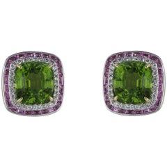 18 Karat White Gold Peridot, Diamond and Sapphire Cluster Earrings