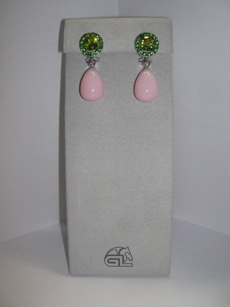 Modern 18 Karat White Gold Peridot Rose Opal Tsavorite and Diamond Dangle Earrings For Sale