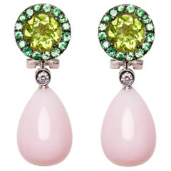 18 Karat White Gold Peridot Rose Opal Tsavorite and Diamond Dangle Earrings