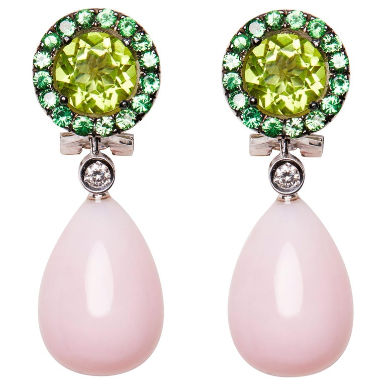 18 Karat White Gold Peridot Rose Opal Tsavorite and Diamond Dangle Earrings For Sale