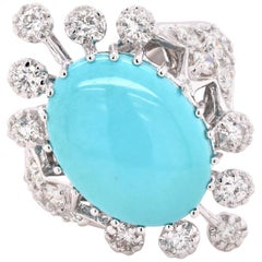 18 Karat White Gold Persian Turquoise and Diamond Fashion Ring