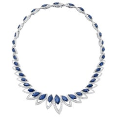 18 Karat White Gold Petali Blue Sapphire and Diamonds Necklace