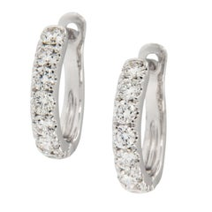 18 Karat White Gold Petite 0.54 Cttw Diamond Hoop Earrings