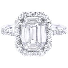 18 Karat White Gold Pie Cut Diamond Engagement Ring