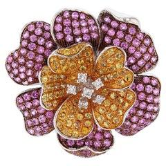 18 Karat White Gold Pink and Yellow Sapphire Diamond Ring