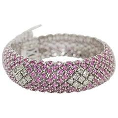 18 Karat White Gold Pink Sapphire and Diamond Bracelet