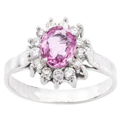 18 Karat White Gold Pink Sapphire and Diamond Cluster Ring