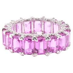 18 Karat White Gold Pink Sapphire and Diamond Eternity Band