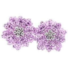18 Karat White Gold Pink Sapphire and Diamond Flower Earrings