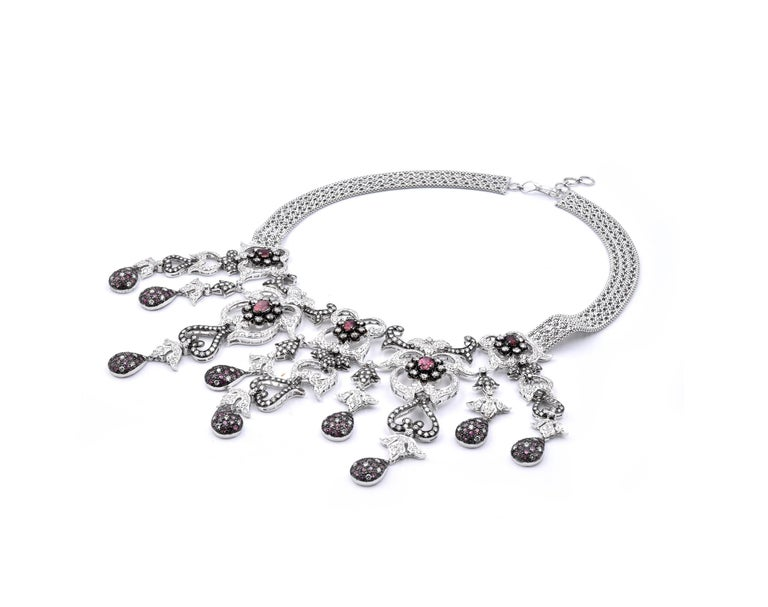 Round Cut 18 Karat White Gold Pink Sapphire and Diamond Necklace For Sale
