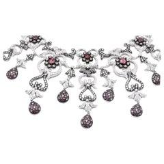 18 Karat White Gold Pink Sapphire and Diamond Necklace
