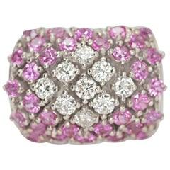 18 Karat White Gold Pink Sapphire and Diamond Ring