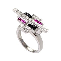 18 Karat White Gold Pink Sapphire and Onyx Cabochon Ring MFAG19-0905