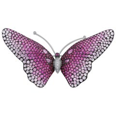 18 Karat White Gold Pink Sapphire Diamond Butterfly Pin
