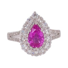 18 Karat White Gold Pink Sapphire Diamond Cluster Ring