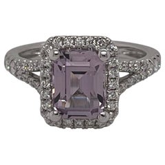 18 Karat White Gold Pink Sapphire & Diamond Ring 2.34 Carats