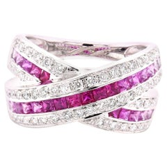 18 Karat White Gold Pink Sapphire Fade and Diamond Crossover Ring