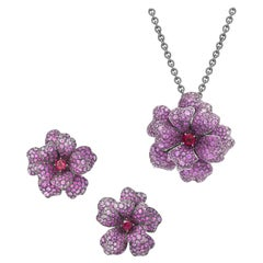 18 Karat White Gold, Pink Sapphire, Ruby and Rubelite Necklace and Earrings