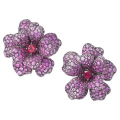 18 Karat White Gold, Pink Sapphire, Ruby and Rubellite Flower Earrings