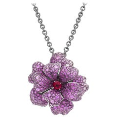 18 Karat White Gold, Pink Sapphire, Ruby and Rubellite Flower Pendant and Brooch