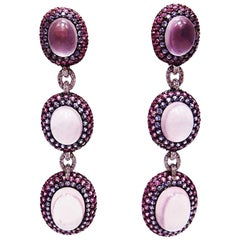 18 Karat White Gold Pink Sapphire Ruby Rose Quartz White Gold Oval Earrings