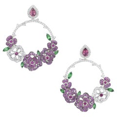18 Karat White Gold, Pink Sapphires, Diamonds, Rubies, Tsavorites Earrings