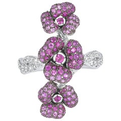 18 Karat White Gold, Pink Sapphires, Rubies and Diamonds Flower Ring