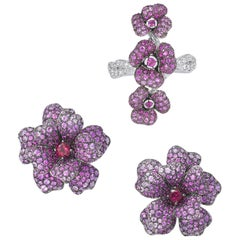 18 Karat White Gold, Pink Sapphires, Ruby and Rubelite Earrings and Ring