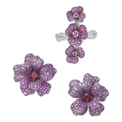 18 Karat White Gold, Pink Sapphires, Ruby and Rubellite Earrings and Ring