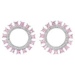 18 Karat White Gold Pink Sun Earrings W-D-PS